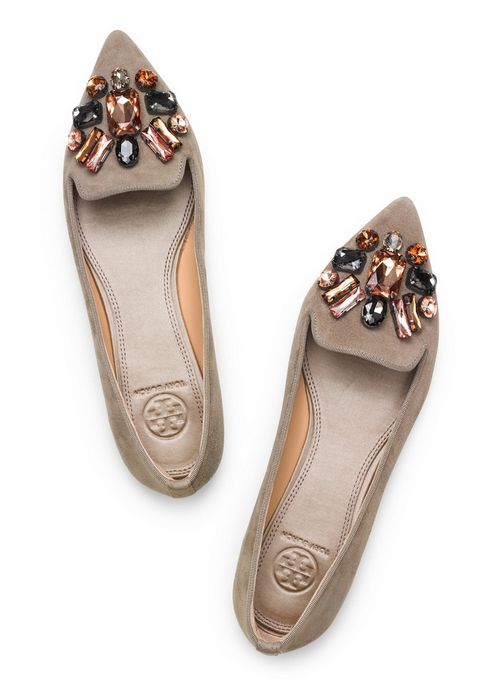 Tory Burch Embellished Suede Smoking Slipper