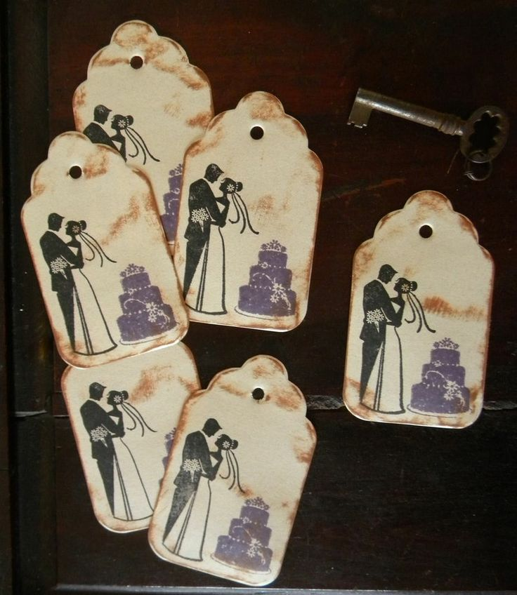 Vintage Wedding Gifts For Bride And Groom : 12 Vintage Purple Wedding Cake Gift Tags Bride Groom Shower Bridal ...