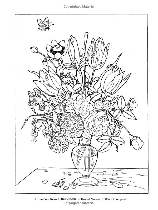 Colouring Pages Of Flowers In Vase : 22 best coloring pages images on pinterest
