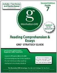 Reading Comprehension & Essays GRE Strategy Guide 2nd Edition (Manhattan GRE Preparation Guide: Reading Comprehension & Essays) Paperback ? Import 7 Jun 2011