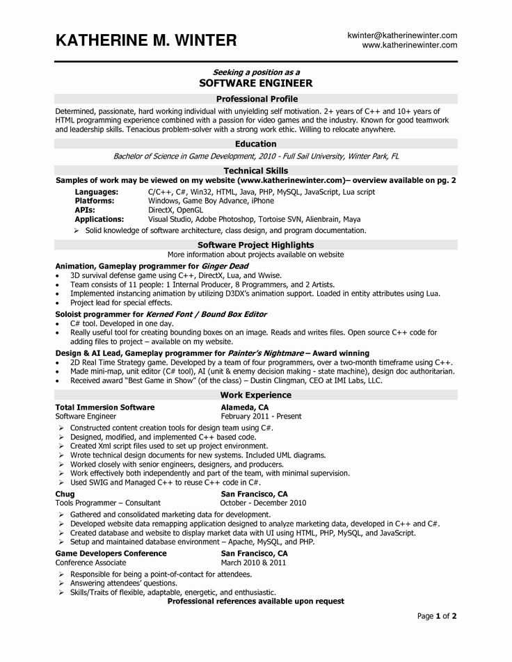 23+ One page resume template software engineer Resume Examples