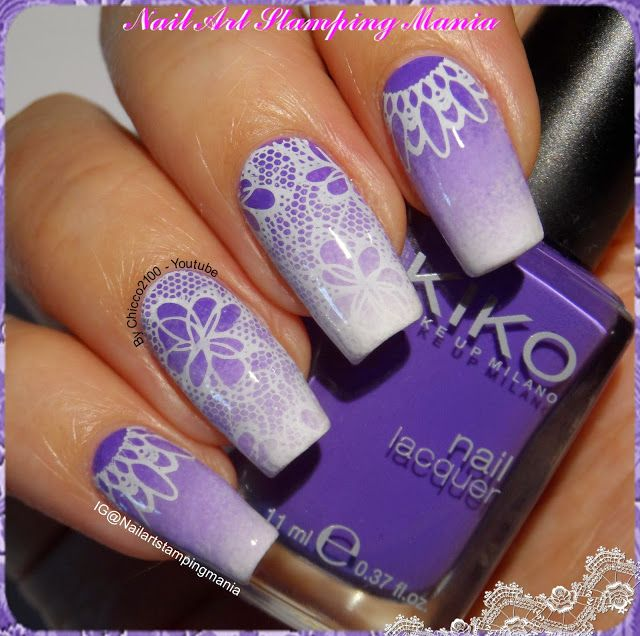 I started with two layers of Wet n Wild French White Crème. Later I made a gradient  white and violet (Kiko 332) polishes. I stamped the lace with Born Pretty BP-L020 plate. For pointer and pinkie I prepared two decals with another design from the same plate: Onto the stamper I applied a layer of top coat. When the decals  were almost completely dry I removed them and I applied on nails.In this way I can apply the decals exactly in the middle of nails.