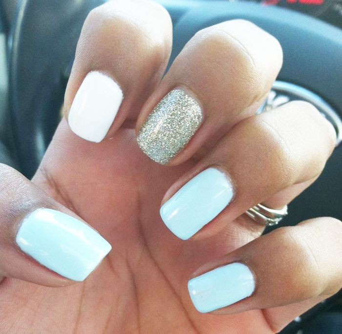 light-blue-and golden nail-art #blue #beautyinthebag #nails
