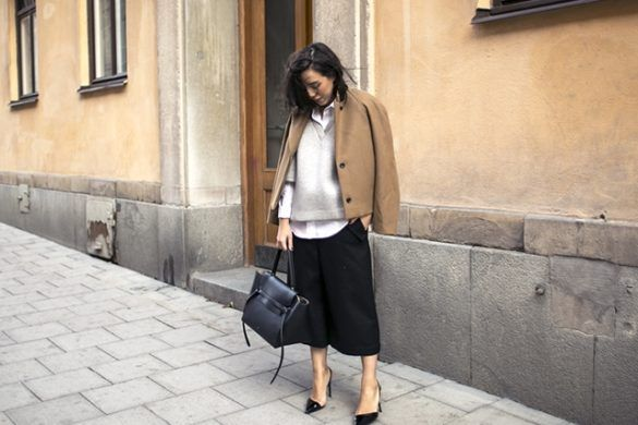 fall-layers-fall-work-outfit-black-culottes-cutout-pumps-pointy-toe-black-pumps-white-oxford-shirt-grey-cropped-sweater-jacket-on-shoulders-fall-layers-camel-coat-jacket-on-shoulders-via-sania-