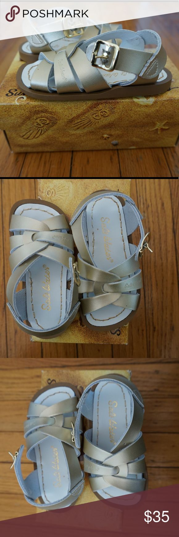 BNIB/NWT Gold Salt Water Sandals. Sz 6 Toddler Brand new in box, never worn, gold sandal, ships in box, perfect for every warm weather outfit! Salt Water Sandals by Hoy Shoes Sandals & Flip Flops