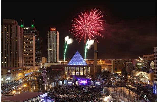 Fireworks show at Churchill Square on January 1, 2013 in Edmonton.