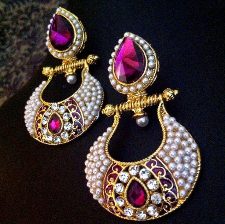 Antique Victorian Fusion India British Sparkling Stone Pearl Polki Earring