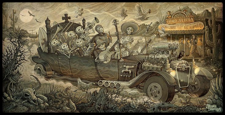 Gatefold image for Los Plantronics 'Surfing Times' LP - Johnny Stingray #skulls #dayofthedead #Mexico #ink #drawing
