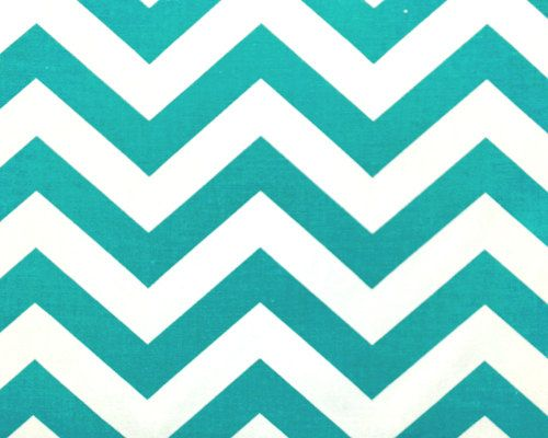Chevron Home Decor Fabric by the Yard zigzag true turquoise aqua teal white Premier Prints - 1 yard or more - SHIPS FAST