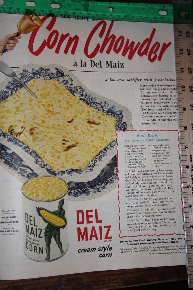 Vintage 1949 Green Giant Corn Print Ad