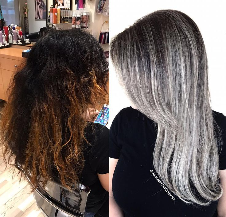 Transformation Monday. This hair was completely fried at the ends with huge black colored area close to roots and 2 inches of gray regrow roots  but I saved her hair by using the amazing @oligoprousa. And olaplex. Formula: I used first pravana color extractor to remove all the black dye from her hair ,then  I did a balayage using the teasing technique and the amazing extra blonde oligoprousa lightner with 30 vol and olaplex till reached level 10 pale blonde, meanwhile all the hair that left…