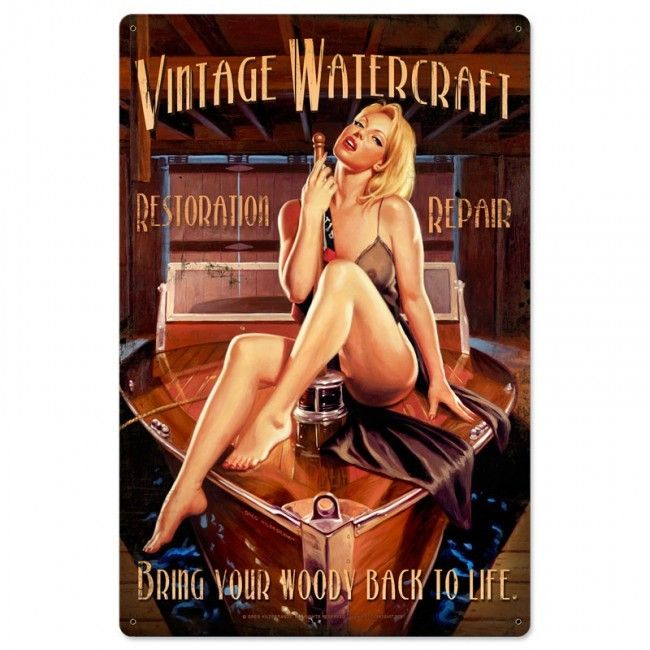 Vintage Watercraft Pin Up Girl Metal Sign 24 x 36 Inches