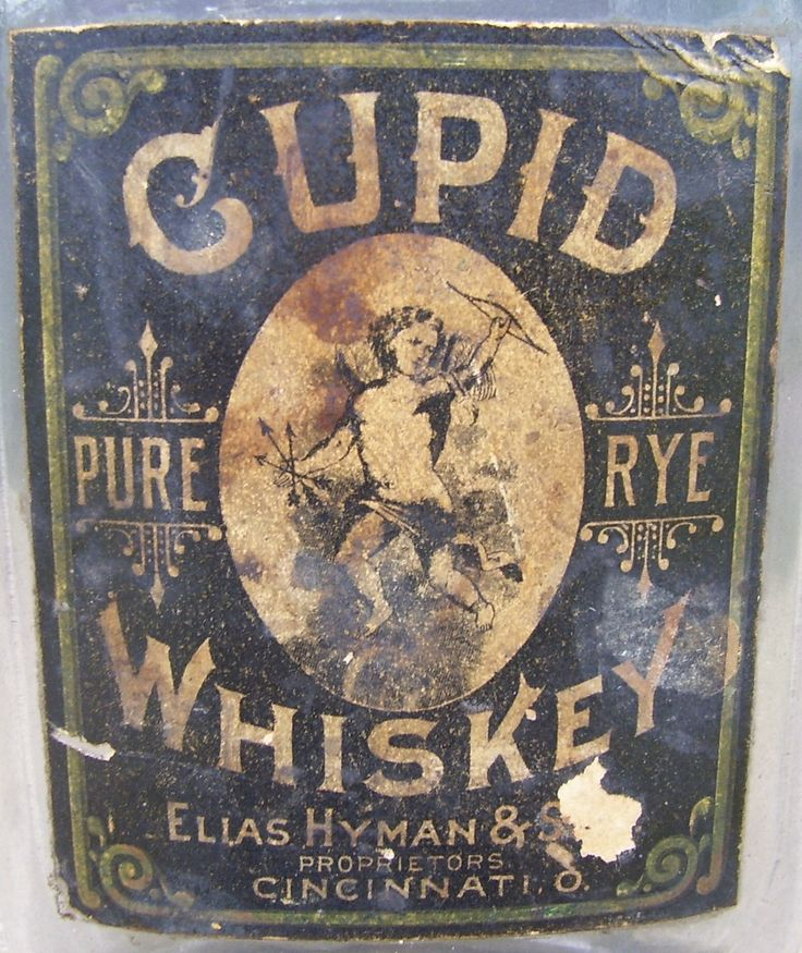 Antique Cupid Graphic Pure Rye Advertising Whiskey Bottle Paper Label Metal Cap | eBay