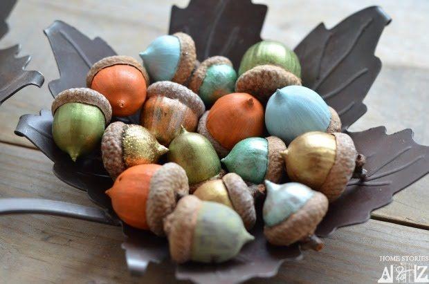 acorns painted