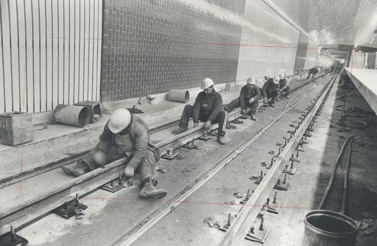 With the opening of six new subway stations scheduled for this weekend, we are imagining how much TTC employees must be scrambling to tie up loose ends. This picture, from 1973, shows the hard work of laying the track heading from Sheppard to Finch station for the (then) new extension between York Mills and Finch stations. Congratulations to everyone who worked to improve transit in the GTA!