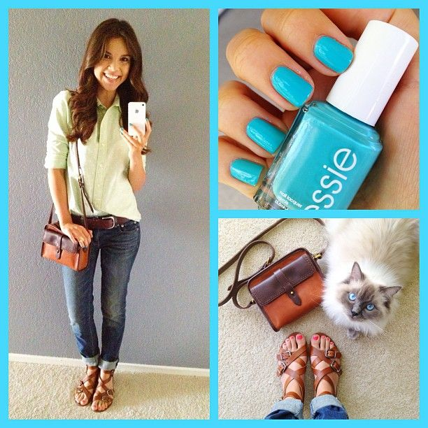 .@Yvette Singh | My outfit today! Madewell shirt, bag, and shoes, AE jeans, and Essie In The C... | Webstagram - the best Instagram viewer