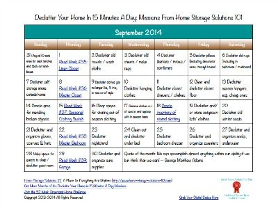 Free printable September 2014 decluttering calendar with daily fifteen minute missions {on Home Storage Solutions 101}