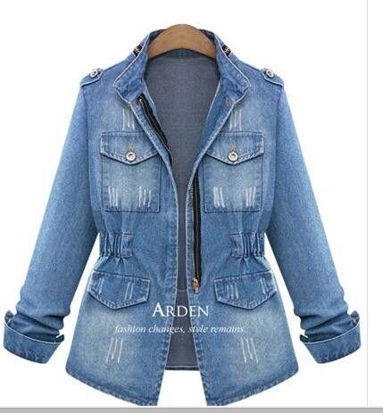 Women's Jeans Jackets Europe All-match Vintage Draped Design Ladies Denim Jacket Slim Type Zipper Long Sleeve Female Coat S-5XL