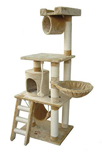 "62"" Boston Cat Tree in Beige - Premium Cat Tree for Large Cats and Kittens, Cat Furniture Bundles with Scratching Post, Cat Condo and Cat Tree Hammock, Cheap Cat Trees and Condos"