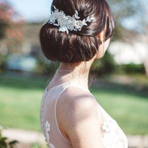 'Lerryn' Champagne lace hair vine#hairvine #lace #bohobride #boho #wedding #hair #updo #bun #chignion #countrywedding #cornwall #headpiece #headpieces #vine #blossom #champagne #weddinginspo