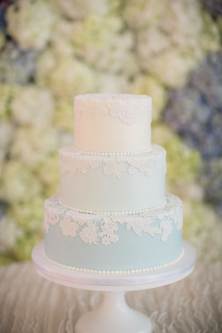 Blue Ombre, Lace-Detailed Wedding Cake | One Belle Bakery LLC https://www.theknot.com/marketplace/one-belle-bakery-llc-wilmington-nc-593099 | St. Thomas Preservation Hall – Wilmington, North Carolina | Design Perfection | Theo Milo Photography https://www.theknot.com/marketplace/theo-milo-photography-wilmington-nc-540839 |