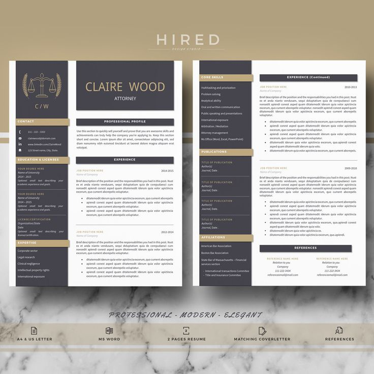 Legal Resume Template for Word: Claire2   - 100% Editable. - Instant Digital Download. - US Letter & A4 size format included. - Mac & PC Compatible using Ms Word.  Attorney Resume Template for MS Word. Lawyer Resume. If you like this template but you are not a Lawyer, you can adapt it for your profession. All our templates are easily editable 100%