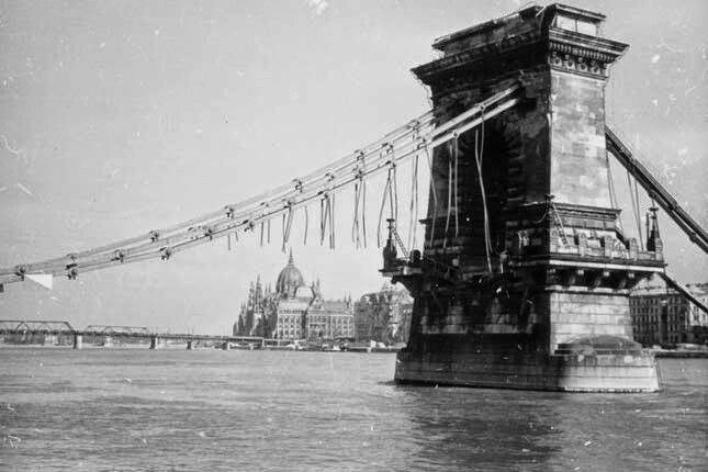 Budapest after the aerial bombardment in the second world war and today Chain Bridge