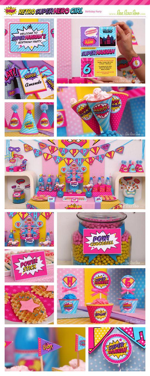 LeeLaaLoo - Superhero Girl Birthday Banner (Happy Birthday) | B79Ni, $5.00 (http://www.leelaaloo.com/superhero-girl-birthday-banner-happy-birthday-b79ni/)