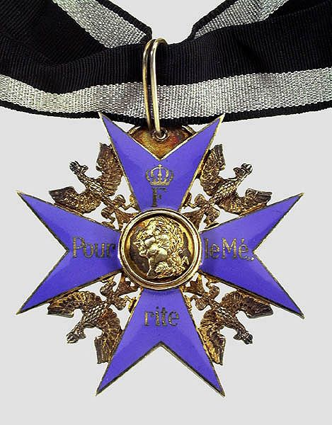 Pour Le Merite medal established in 1740 by King Frederick II of Prussia. The Pour le Mérite was awarded as both a military and civil honor.  Field Marshal and commander of the German Africa Korps Erwin Rommel and novelist Ernst Jünger were so honored, as were  Hermann Hesse, Albert Schweitzer, Thomas Mann, and Oskar Kokoschka.