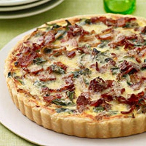1 piecrust 4 slices bacon, cut crosswise into ¼-inch slices 6 cups baby spinach 1½ pounds yellow onions (about 4), halved and cut crosswise into ¼-inch slices (6 cups) ¾ teaspoon salt ¼ teaspoon dr…
