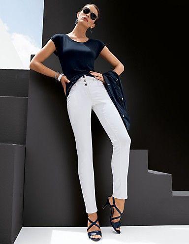 MADELEINE I Feeling I Hosen I  Enge Jeans mit hohem Bund I Weiß