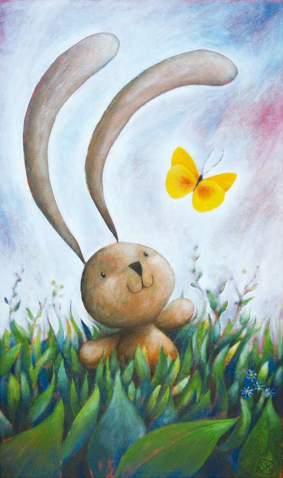 """""""Bunny & Butterfly"""" illustration signed print. For kid room, nursery, by Ciacio"""