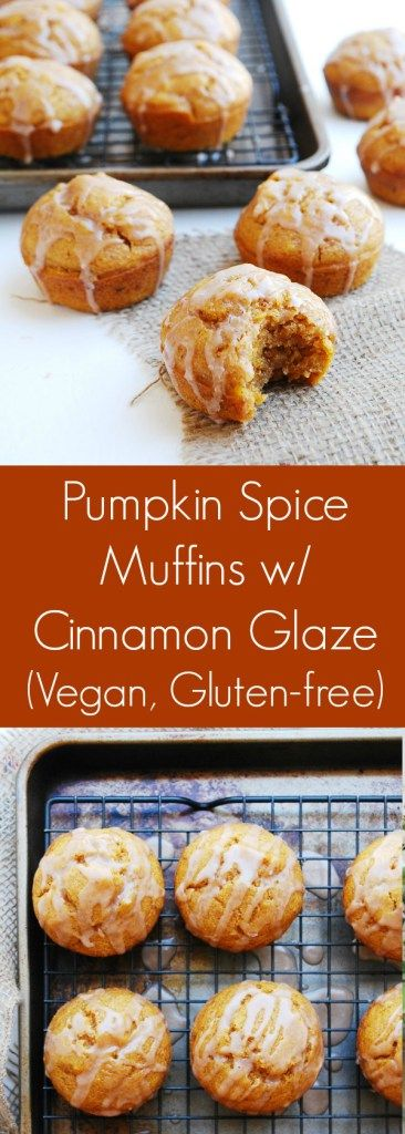 Spiced Pumpkin Muffins with Cinnamon Glaze (Gluten, dairy, egg, soy, peanut & tree nut free; top-8-free; vegan) Breakfast recipe by AllergyAwesomeness.com  |vegan pumpkin muffins| |egg free pumpkin muffins| |dairy free pumpkin muffins| |gluten free pumpkin muffins| |soy free pumpkin muffins| |nut free pumpkin muffins| |allergy-friendly pumpkin muffins| |top-8-free pumpkin muffins| |gluten free vegan pumpkin muffins|