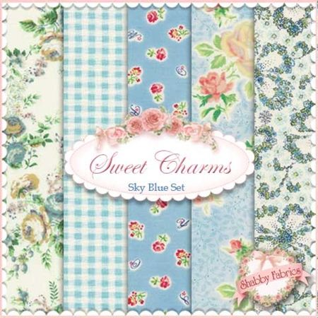 Mary Rose Collection - Sweet Charms Sky Blue 5 FQ Set by Quilt Gate
