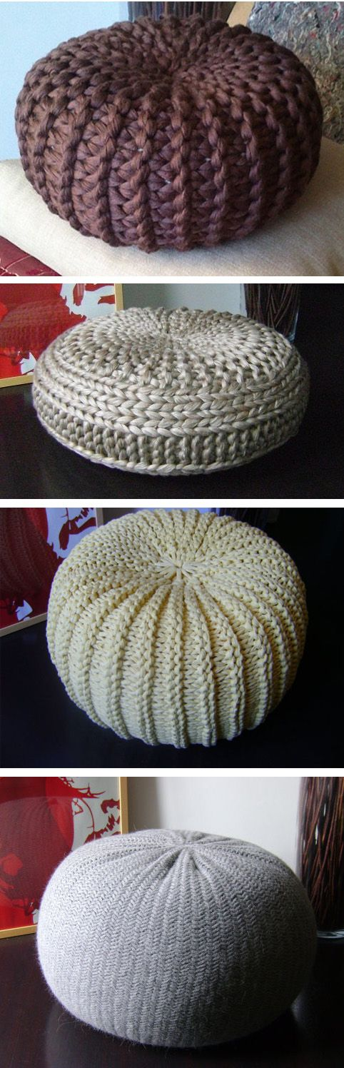 Knitting patterns for 4 poufs, ottomans, floor pillows, or footstools. Sizes from 15.7 inches in diameter to 26 inches. Etsy affiliate link tba