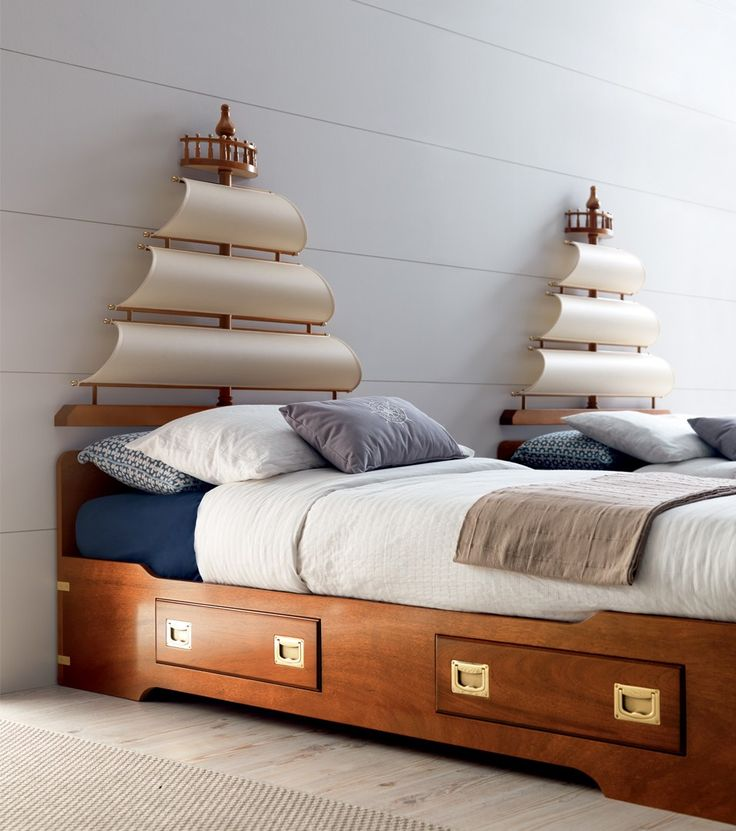 Fitted wooden bedroom set with bridge wardrobe for girls PLAY SAIL | Bedroom set for boys - Caroti