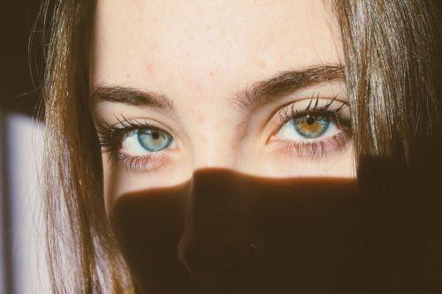 Heterochromia. Gorgeous eyes and eyebrows