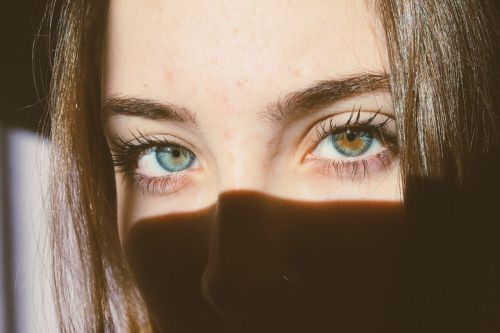 Heterochromia. Gorgeous eyes and eyebrows