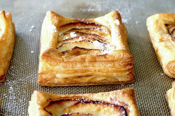 Apple puffs. Handmade puff pastry.