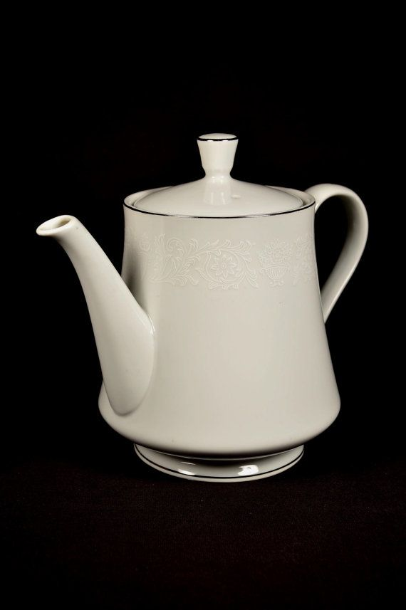 White Porcelain Teapot Silver Trim Crown Victoria Fine