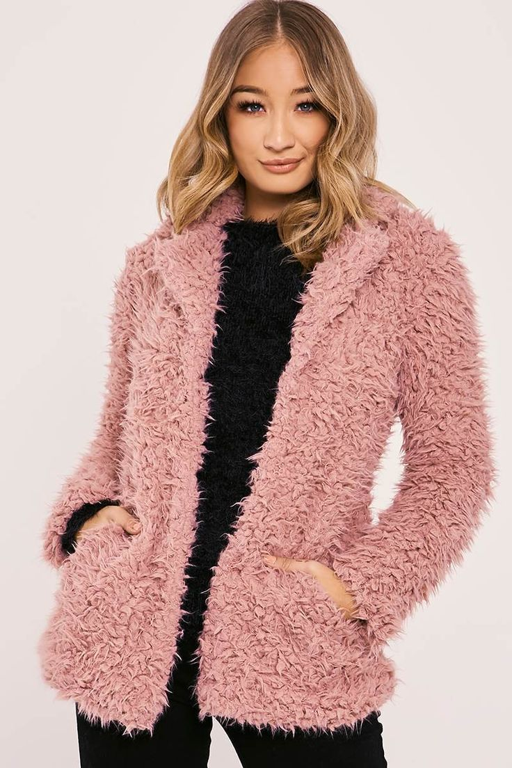 JAZEL PINK FLUFFY LONGLINE COAT | In The Style