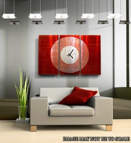 Crimson Moon Large Red Metal Wall Clock, Abstract 3 Panel Metal Wall Art  Home Decor