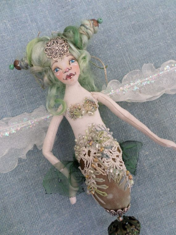 OOAK Art Doll  Nouveau Mermaid  wall hanging  by paulasdollhouse