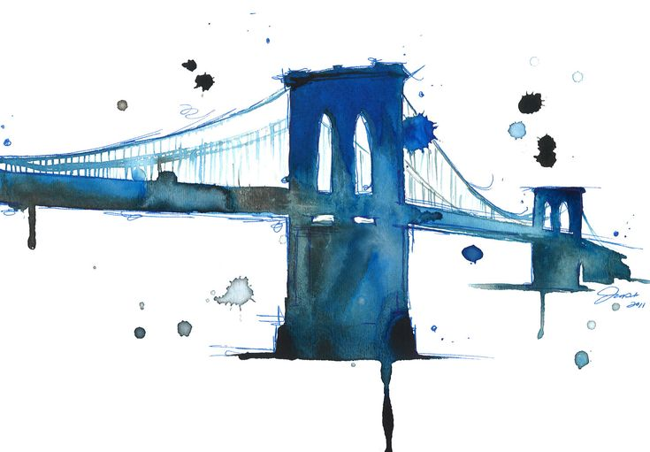Watercolor Illustration Brooklyn Bridge by JessicaIllustration