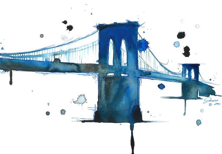 Watercolor Illustration Brooklyn Bridge - Brooklyn Blues