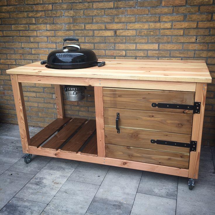 Zelfbouw  BBQ-tafel voor de Weber Original Kettle Premium 47 cm