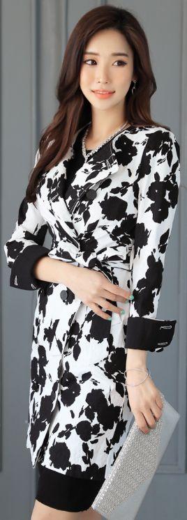 StyleOnme_Floral Jacquard Collarless Trench Coat #blackandwhite #classy #elegant #koreanfashion #spring #kstyle #seoul #trench #coat