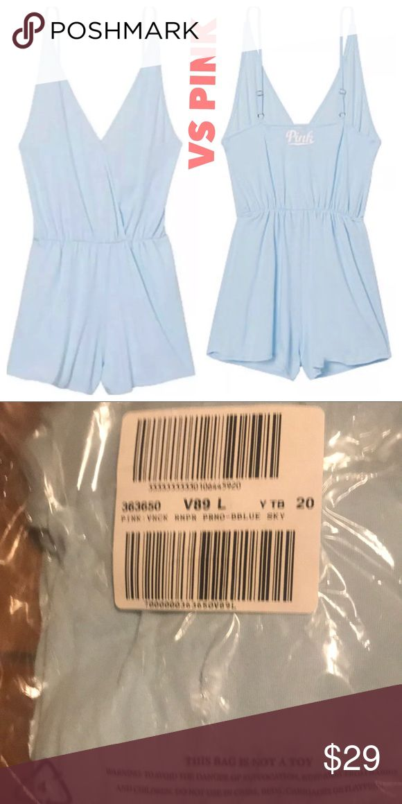 NEW Victoria's Secret Pink Crossover Romper New in package. Victoria's Secret Pink Crossover romper. Morning sky blue. Size large. PINK Victoria's Secret Pants Jumpsuits & Rompers
