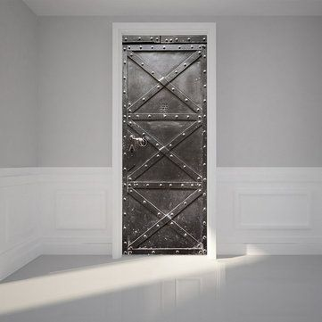 Iron Gate Sticker PVC Self Adhesive Waterproof Refrigerator Door Room Cover Wallpaper Decal