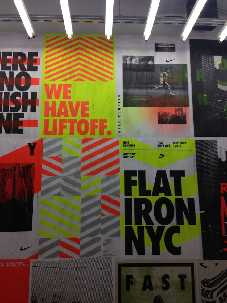 21 different posters we printed for Nike's biggest running store in the Flatiron District in NYC.